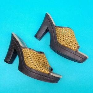 90s Mudd Platform Heels Woven Faux Leather Slip On